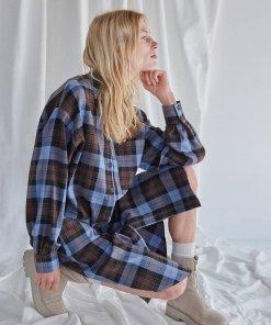 Reserved - Rochie tricotată în carouri - Albastru