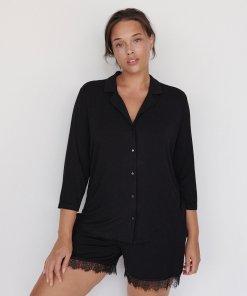 Reserved - Pijama din viscoză, cu pantaloni scurți - Negru