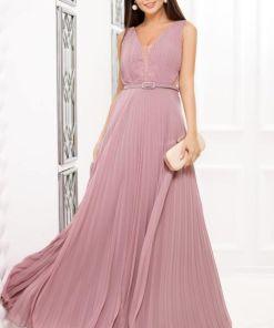 Rochie lunga din voal plisat roz prafuit