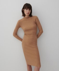 Reserved - Rochie din jerseu de tricot striat - Bej