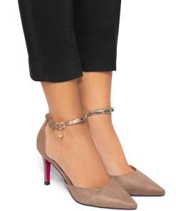 Pantofi dama Farmacee cu margini decupate, Bej