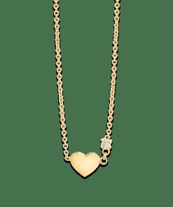 Lant cu pandant pentru copii din aur galben de 14K cu diamant de 0.02ct 9767