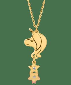 Lant cu pandant unicorn pentru copii din aur galben de 14K cu diamant de 0.008ct 20044
