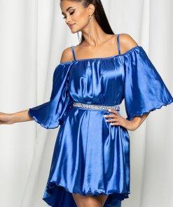 Rochie Ella Collection Amedeea albastra accesorizata cu un cordon cu strasuri in talie