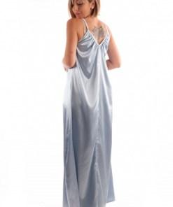 Rochie lungă tip furou din satin - Bleu Ciel