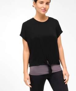 Tricou dublu cu model tip legătură Negru