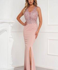 Rochie roz prafuit lunga tip creion din material usor elastic cu aplicatii de dantela