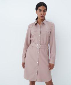 Mohito - Rochie tip cămașă din imitație de piele - Roz