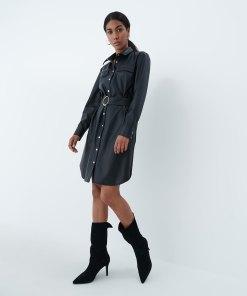 Mohito - Rochie tip cămașă din imitație de piele - Negru
