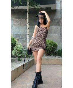 Rochie dama leopard provocative din satin