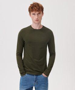 Sinsay - Tricou basic cu mânecă lungă - Verde