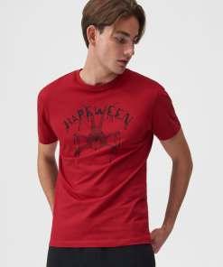 Sinsay - Tricou cu imprimeu - Roșu