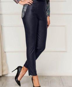 Pantaloni StarShinerS albastru-inchis casual cu un croi mulat din piele ecologica cu talie inalta si fermoar in lateral