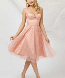 Rochie PrettyGirl roz deschis de ocazie midi in clos din tul cu buline cu bust buretat si cordon detasabil