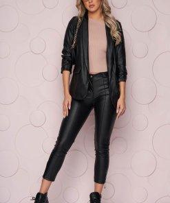 Pantaloni SunShine negri cu un croi mulat si talie normala din piele ecologica subtire si fermoar la terminatie