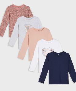 Sinsay - Set de 5 tricouri cu mânecă lungă - Roz