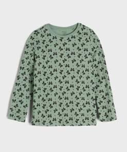 Sinsay - Tricou cu mânecă lungă și imprimeu integral - Verde
