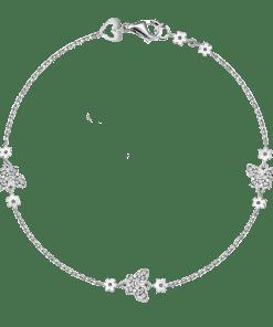 Bratara model fluturi din aur alb de 14K, Gramaj: 3.08g 12601