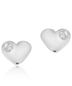 Cercei pentru copii cu inimioare din aur alb de 14K cu diamante de 0.02ct 18663