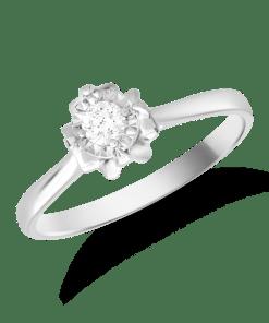 Inel de logodna din aur alb de 18K cu diamant de 0.107ct 19450