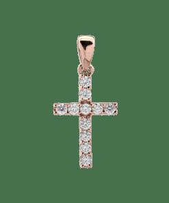 Pandant din aur roz de 18K cu diamant de 0.12ct 14928