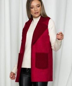 Vesta Misha rosie cu aspect de lana de oaie