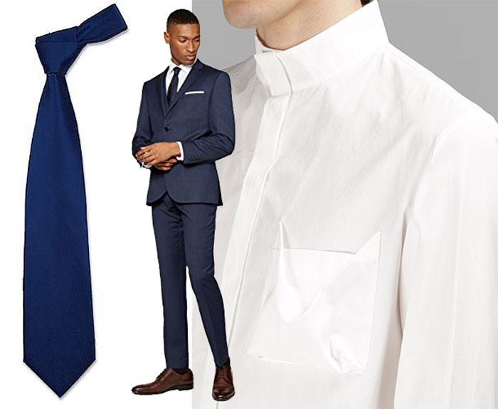 wie tr gt man einen blauen anzug hemd und. Black Bedroom Furniture Sets. Home Design Ideas