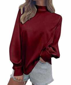 Minetom Damen Chiffon Bluse Rollkragen Sweatshirt Casual Langarm Oberteile Tops Herbst Frühling Mode Hemd Shirt