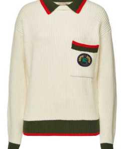 Burberry Bestickter Pullover Olivine aus Wolle und Kaschmir