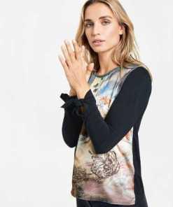 TAIFUN T-Shirt Langarm Rundhals »Shirt mit Knoten-Detail am Arm«