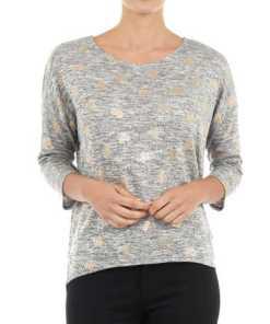 Damen Pullover mit Allover-Print in Metallicoptik