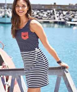 KangaROOS Shirtkleid im tollen Streifenmuster mit seitlichem Taillen-Bindeband