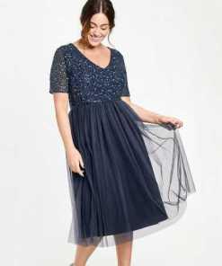 SAMOON Kleid Gewirke »Elegantes Midi-Kleid mit Pailletten«