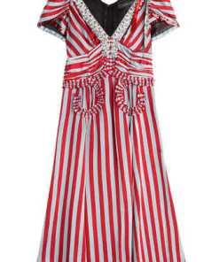 Marc Jacobs Gestreiftes Flared-Dress mit Rüschen und Pailletten