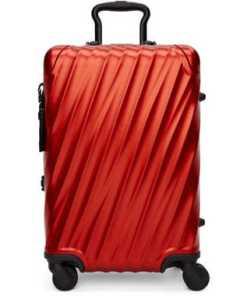 Tumi Red Aluminium International Carry-On Suitcase
