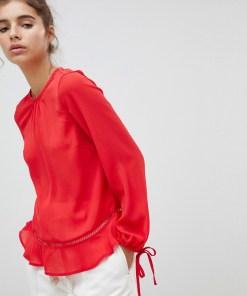 New Look - Bluse mit Rüschensaum - Rot