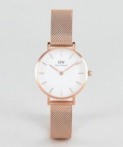 Daniel Wellington - Petite - Melrose - Netz-Armbanduhr in Roségold mit weißem Zifferblatt