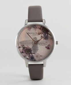 Olivia Burton - OB16EM05 - Graue Leder-Armbanduhr mit Stickerei - Grau