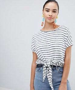 New Look - Gestreiftes T-Shirt mit Bindeband vorne - Blau