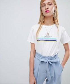 New Look - T-Shirt mit Regenbogenstreifen - Weiß