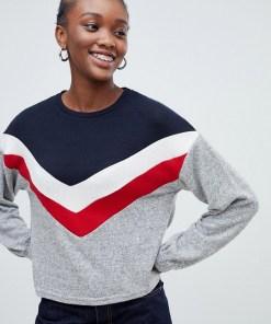 New Look - Pullover mit Ballonärmeln und Sparrenmuster - Grau