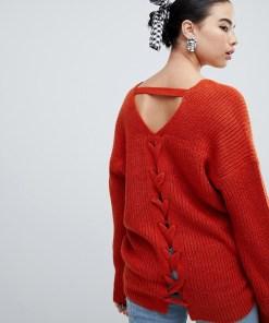 New Look - Pullover mit V-Ausschnitt - Orange