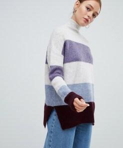 New Look - Pullover in Blockfarben mit Stehkragen - Blau
