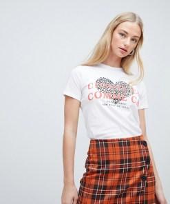 New Look - Weißes T-Shirt mit Herz- und Leoprint - Weiß