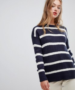 New Look - Gestreifter Pullover - Navy