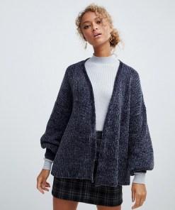 New Look - Grau gemusterte Chenille-Strickjacke - Grau