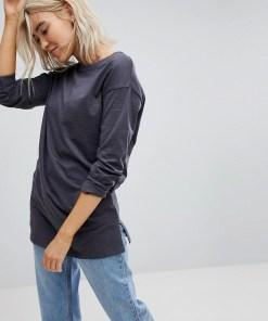 New Look - Organic - Langärmliges Tunika-T-Shirt - Grau