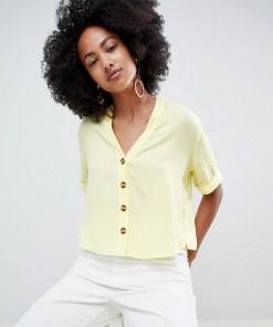 New Look - Kastenförmiges Hemd mit Knopfleiste - Gelb