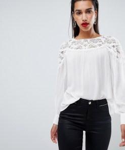 Morgan - Bluse mit Spitzenpartien - Weiß