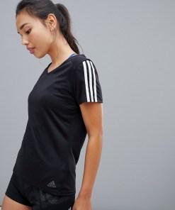 adidas - Running - Schwarzes T-Shirt mit drei Streifen - Schwarz